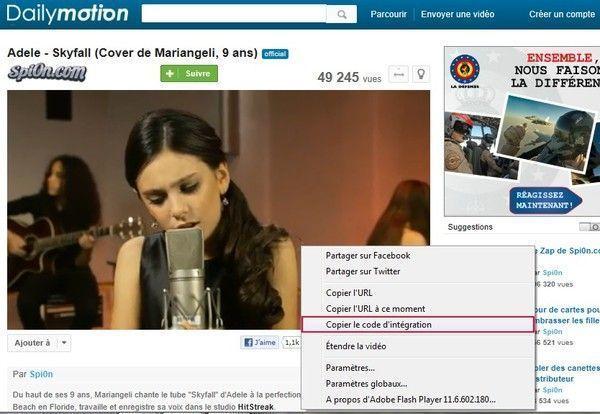 Astuces : Ajouter une vidéo de Dailymotion.